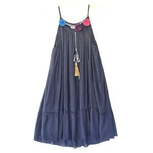 Philosophy 🌿 Bohemian Pom Pom Tassel Swing Dress
